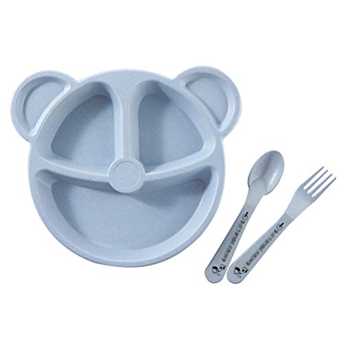 GAOJIAN Cartoon Children Compartment Plate - Wheat Straw Fiber Kids Dishes Microwave & Dishwasher Safe,Plate, Fork, Spoon, 3 Piece Set