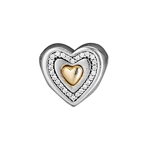 Diy 925 Pandora Colgante Encantos Se Adapta A Pulseras Brazaletes Femme Cuentas De Plata Esterlina Para Hacer Joyas Corazón Encanto De Plata Con