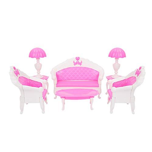 6pcs / set poppenhuis miniatuur meubilair set plastic theetafel slaapbank Mini Furniture Set