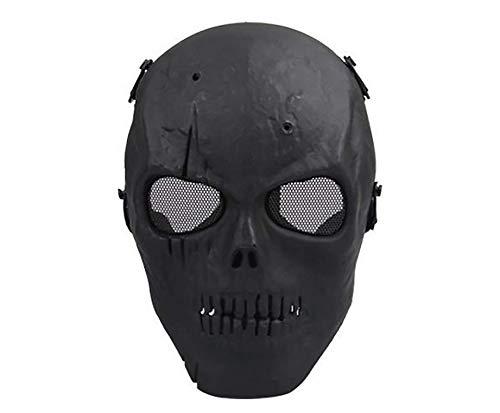 Smallgirl Heimdekoration, Gadgets, Feldschädel-Maske, Gleader Army Totenkopf Skelett Airsoft Paintball BB Gun Full Face Game Protect Safe Mask (Silberschwarz)