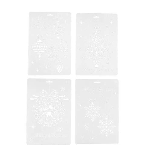 NUOBESTY 8 piezas plantilla de plantillas de navidad artesanía de plástico reutilizable de navidad para...
