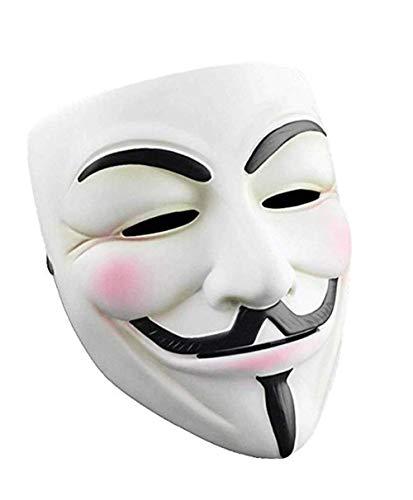 Herocos V for Vendetta Cosplay Resin Mask,Adult Children Costume Mask Halloween Party Costume Props.2 (White)