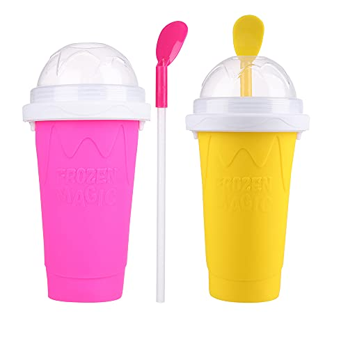 OKDEALS 2 PACK Slushie Maker Cup 350ml | Double Layer Squeeze Cup Slushy Maker with Straw and Spoon | Magic Quick Frozen Smoothies Cooling Maker Cup for Kids Adults in Summer