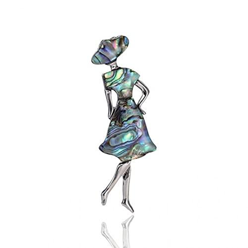 Personalidad De Moda Natural Shell Dancing Girl Mujeres Boda Banquete Fiesta Broche Pin-Silver