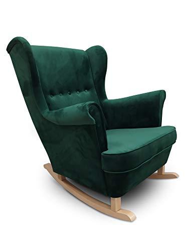 MARTHOME Sillon orejero balancin Mecedora. Sillon Lactancia. Sillón tapizado. Mecedora para Dormitorio, Salon o habitacion de Bebe Butaca Relax Lactancia