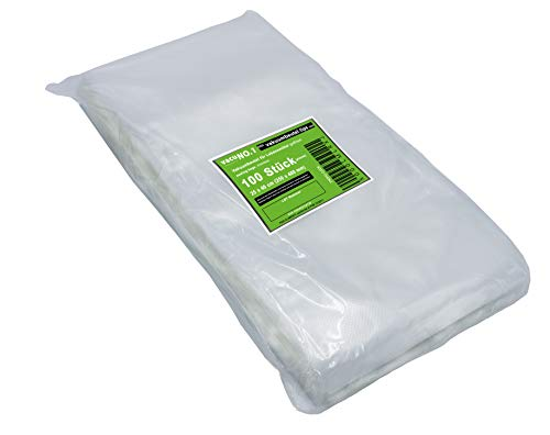 Vakuumbeutel für Lebensmittel 20x40cm geprägt goffriert VacuNo.1 Made in EU mehrfach verwendbar BPA frei geruchsneutral universal für alle Balken-Vakuumierer und Folienschweißgeräte geeignet zum Tiefkühlen Inhalt 100 Stück