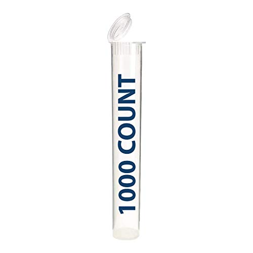 DJC Supply Clear 116mm Pre-Roll Squeeze Pop Top Tube Container   Child Resistant & Air-Tight Vial   Eco-Friendly BPA-Free Plastic   King Size 4.5' Tall for Rolled Cigars & Joints 1000 Count