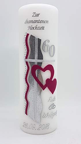 Hochzeitskerze mit Namen & Datum Diamantene Hochzeit 60 in verschiedenen Farben DH-12