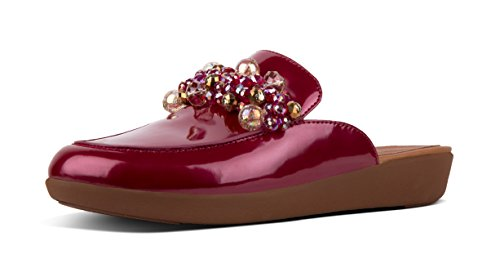 FitFlop Womens Serene Deco Patent Duocomff Loafer Mule Red 6.5 Medium (B,M)
