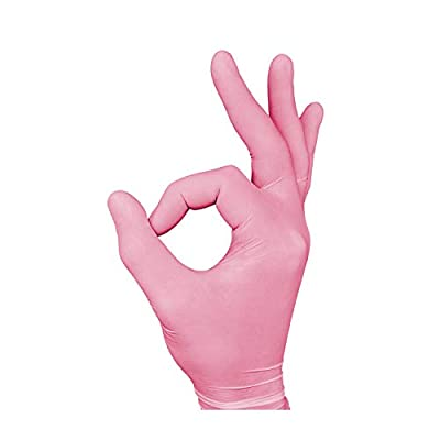 Nitrile Exam Gloves - Medical Grade, Powder Free, Latex Rubber Free, Disposable, Non Sterile, Food Safe, Textured, Pink Color, Convenient Dispenser, Pack of 200, DazzleTouch (Small)