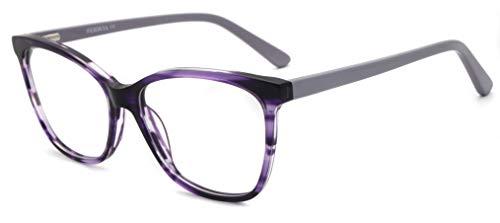 FERAVIA Lentes transparentes ópticos sin prescripción cuadrados de acetato brillante clásico elegante para mujer anteojos de color púrpura