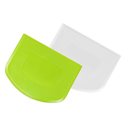 QINREN 2 Stück Teigschaber Kunststoff Teigkarte zur Teigbearbeitung,Mehl umrühren(Weiß+Grün)