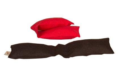 Speltex, Tastaturkissen, rot, Füllung Bio-Dinkelspelz (latexiert); Bezug Natur-Leinen, 8x33 cm