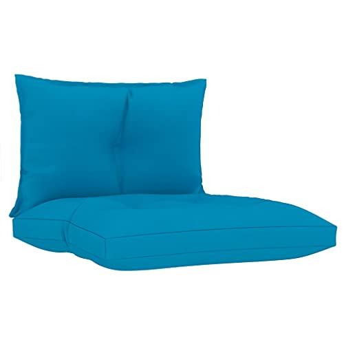 vidaXL Cojines para Sofá de Palets 2 Piezas Asiento Silla Respaldo Jardín Patio Balcón Terraza Exterior Suave Cómodo Decoración Tela Azul