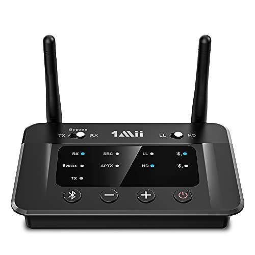 1Mii Ricevitore Trasmettitore Audio Bluetooth 5.0 TV, Bypass 3 In 1 con Ottico Aux Rca, Aptx a Bassa Latenza e Hi-Fi, Doppio Link 2 Cuffie BT, Adattatore Wireless per Impianto Stereo, Lungo Raggio 50m