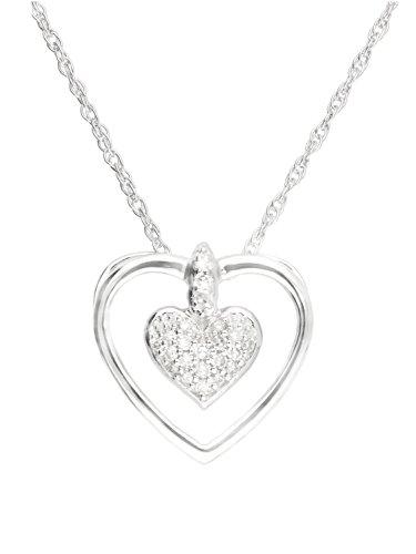 Halskette Mit Anhänger Weissgold Weißgold 750 Gold (18 Karat) Diamant 0,06ct. Kette 45cm Herz 12mm x 12mm Herzkette Diamantkette Goldkette Nadia V0013542