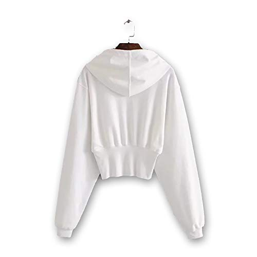 MIAOJIE Women's Solid Color Hoodies Sweatshirt Pullovers Autumn And Winter New Warm Hooded Sweater Women Short Waist Bottoming Shirt Ladies Jacket Long Sleeve Jumper Top with Drawstring,White,S