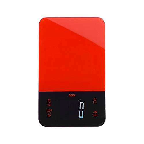 Silit Digitale Küchenwaage mit Tara, bis 5kg, Haushaltswaage mit Touch-Display, große Wiegefläche, Kurzzeitmesser-Funktion