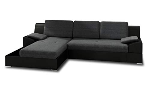Ecksofa Aldo mit Glasregal, Couchgarnitur mit Bettfunktion und Bettkasten, Sofagarnitur, Couch mit Schlaffunktion, Big Sofa (Schwarz + Graphit (Soft 011 + Inari 94), Ecksofa Links)