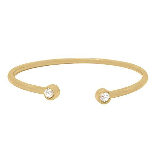 Armreif Rosegold mit Strasssteinen Selfmade Jewelry – Armband aus Stainless Steel glänzend und flexibel Armschmuck Damen Mädchen Modeschmuck in Roségold