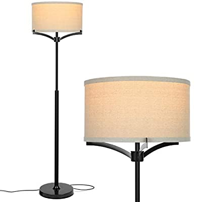 Brightech Elijah LED Floor Lamp – Free Standing Pole Light for Living Room or Office — Modern Tall Reading Light with Drum Shade - LED Bulb Included