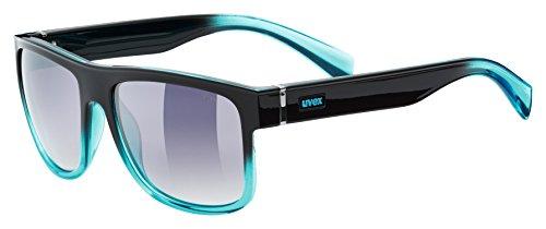 Uvex Unisex-Erwachsene Sportsonnenbrille lgl 21, Black Turquoise/Smoke Dégradé, Einheitsgröße