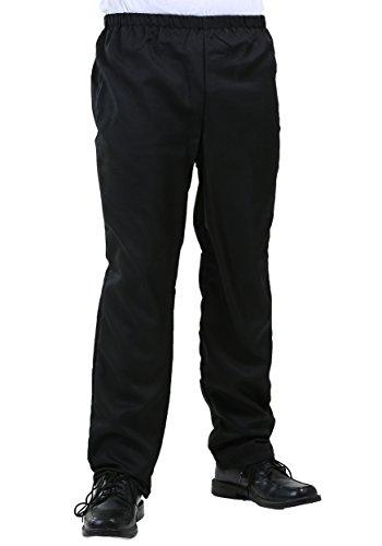 Men's Plain Black Elastic Waist Pants Black Costume Pants Large