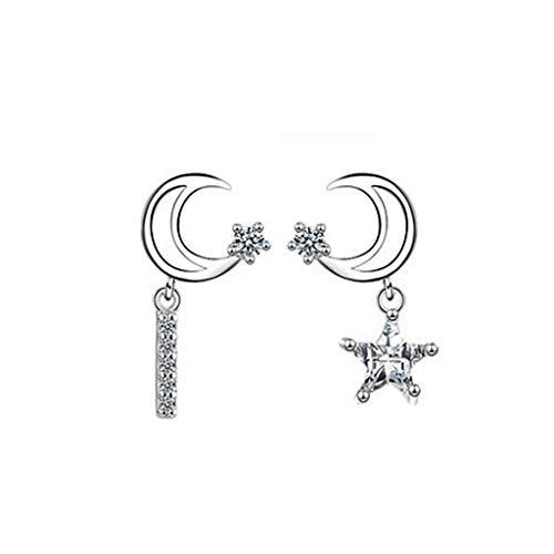 WARMWORD Pendientes para Mujer y niña, diseño de Luna y Estrella Metálico Simple Anillo Exterior de Forma Irregular Amor Acrílico Pendientes Joyas de Mujer Regalo de cumpleaños