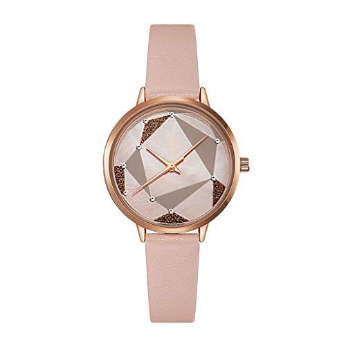 Hasayo Relojes de Las Mujeres Señora Moda del Reloj de Vestido Femenino del Reloj Muchachas Ocasionales de Movimiento de Cuarzo Cuero Resistente al Agua Correa-rombo (Color : A)