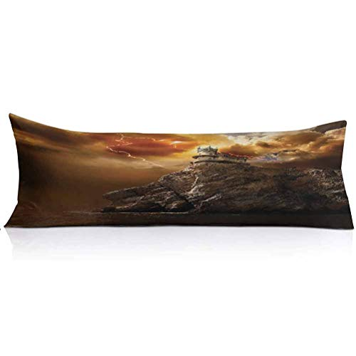 LCGGDB Fantasy Body Pillowcase,Fantasy Castle on Top of The Cliff with Thunder Supernatural Place Fiction Print Decorative Body Pillow Cover for Adults Pregnant Woman,1PCS,Orange Brown