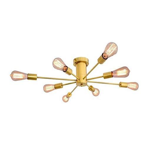 N\A ZGGYA Sputnik Lámpara De Techo Dorada Lámpara De Techo 8 Luces E27 Candelabros Lámpara De Techo Lámpara De Cocina De Montaje Semi Empotrado Metal para Sala De Estar Dormitorio Comedor Bar