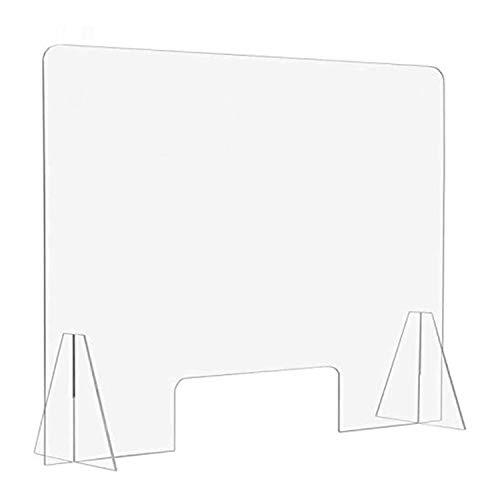 Boomersun Schutzscheibe Acryl, Schutzscheibe Thekenaufsatz Trennwand & Hustenschutz Schutz gegen Tröpfcheninfektion Spuckschutz mit Durchreiche Tischaufsatz