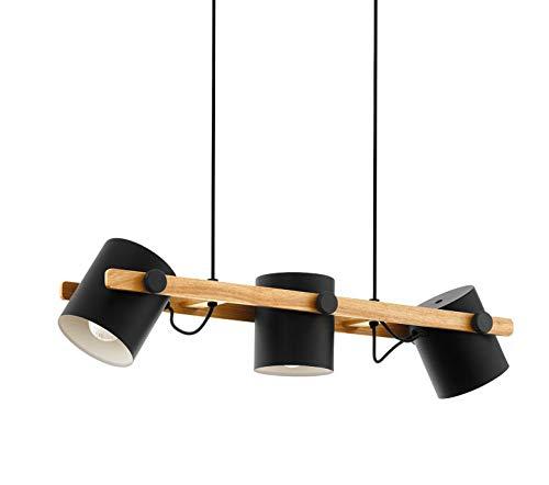 EGLO Pendellampe Hornwood, 3 flammige Vintage Pendelleuchte im Industrial Design, Retro Hängellampe aus Stahl und Holz, Farbe: schwarz, creme, braun, Fassung: E27