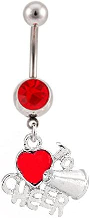 Red I Love to Cheer Heart Dangle Cheerleading Belly Button Navel Ring Piercing bar Body Jewelry 14g