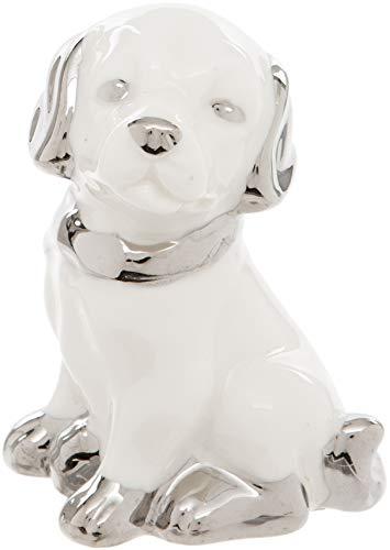 Maturi Dekofigur Hund aus Keramik, Weiß mit silberfarbenem Halsband