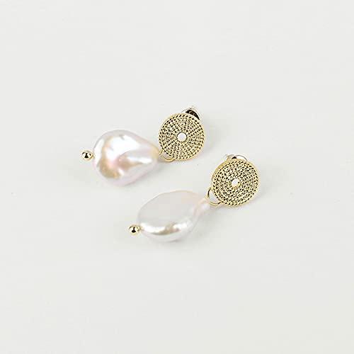 SALAN Orecchini Pendenti con Perle d'Acqua Dolce Barocche per Donna Orecchini Pendenti con Ciondoli Eleganti Orecchini con Moneta Piccola Unica