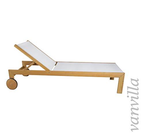 vanvilla Sonnenliege Gartenliege Holz Relaxliege Liegestuhl Ramos Bespannung Weiss