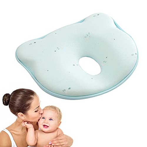HOSPAOP Almohada para bebé, cojín para bebé contra aplanamiento, almohada ortopédica para bebé, cojín de espuma de memoria, cojín para bebés contra recién nacidos, niños pequeños, niños (gato azul)