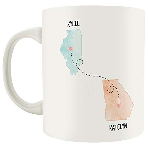State to State 11 Oz Coffee Mug – Choose Up to 4 States to Connect, Add Names and Quote – Long Distance Friendship or Relationship – Perfect for Gifting or Collecting