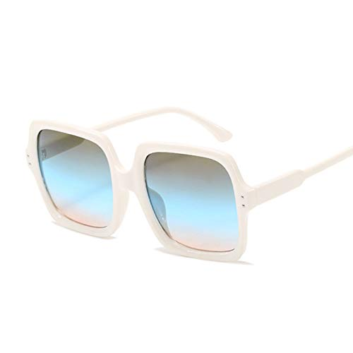 QYV Gafas de Sol cuadradas de Lujo a la Moda para Mujer, Gafas de Sol Retro, Espejo Degradado de Marco Grande para Mujer,White