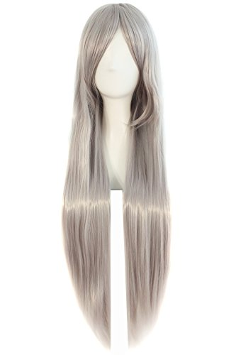 """MapofBeauty 32"""" 80cm Long Straight Anime Costume Cosplay Wig Party Wig (Gray)"""