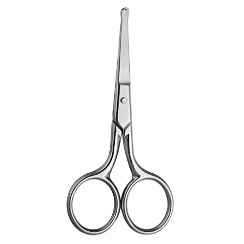 Healifty Tijeras de seguridad para el cabello Tijera de punta roma de acero inoxidable para el corte del cabello, aseo de cejas nariz bigote barba