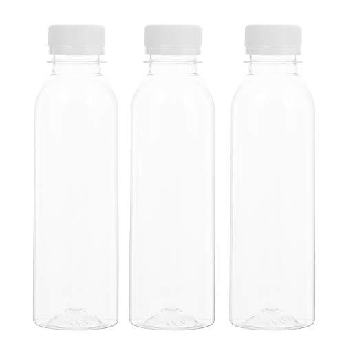 Cabilock 20Pcs 250Ml Botellas de Jugo de Plástico Reutilizables Envases Transparentes Desechables con Tapas Envases de Leche Cuadrados Vacíos para Jugo de Leche Y Otras Bebidas