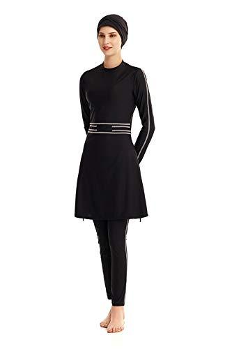 Bescheidene muslimische Badebekleidung Islamischer Badeanzug Hijab mit voller Deckung Badeanzug Beachwear Bikini (Black, 4X-Large)