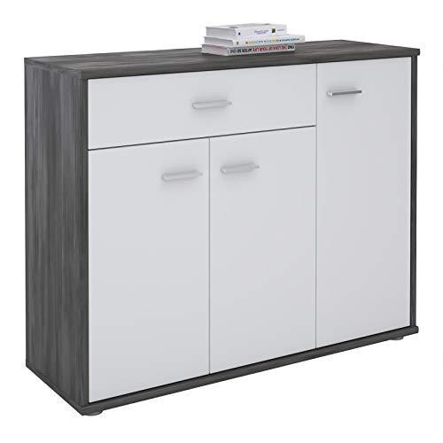 CARO-Möbel Kommode Estelle Sideboard Mehrzweckschrank, Esche grau/weiß mit 3 Türen und 1 Schublade, 88 cm breit