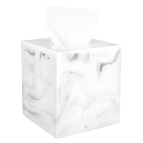 Luxspire Harz Kosmetiktücherbox, Taschentuchbox Quadratisch Rollenpapier Tücherbox Tissuebox mit Magnetabdeckung und nett Stiche für Esszimmer Badezimmer Schlafzimmer Auto Büro - Marmor Weiß