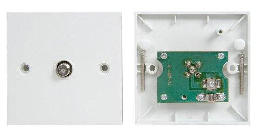 Single'F' Type Coaxial Wall Socket Plate Tv Ntl Sky
