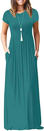 DEARCASE Women's Round Neck Short Sleeves A-line Casual Dress with Pocket Acid Blue Large