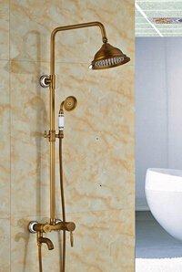 """Luxurious shower Mayoristas y Minoristas de latón antiguo lujo 8"""" Defina la válvula grifo Ducha grifo mezclador ducha de pared columna,Multi"""