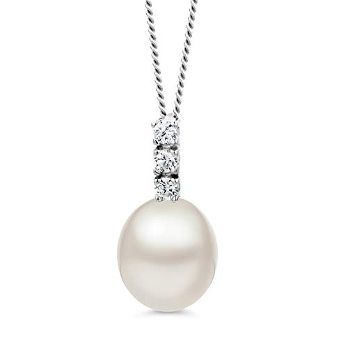 Orovi Collana Donna con Perle d'Acqua Dolce Bianche e Zirconi Taglio Brillante in Oro Bianco 9 kt 375 Catena 45 cm